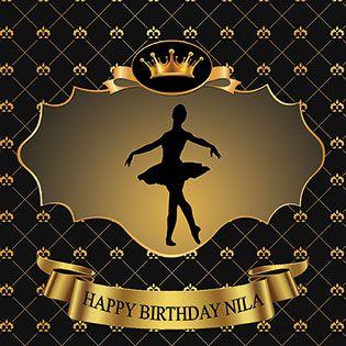 بنر تولد بزرگسال دخترانه وپسرانه بالرین تاج طلایی 58