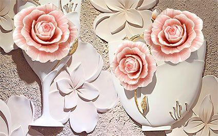 طرح کاغذ دیواری گل رز صورتی سه بعدی 009