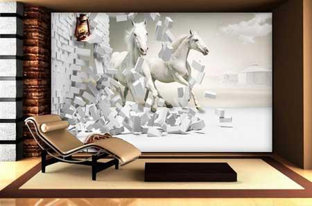 طرح کاغذ دیواری اسبهای سفید سه بعدی009