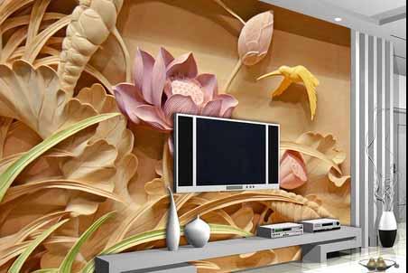 طرح کاغذ دیواری گل نیلوفرمرداب سه بعدی 012