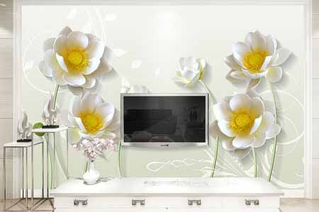 طرح کاغذ دیواری گل سفید سه بعدی 014
