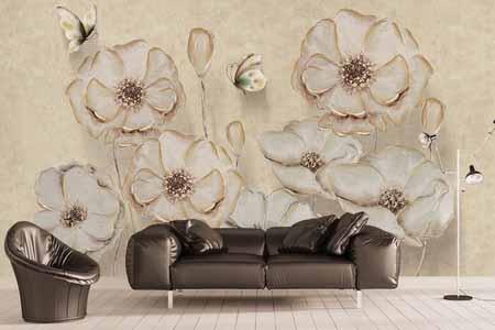 طرح کاغذ دیواری گل و پروانه سه بعدی 017