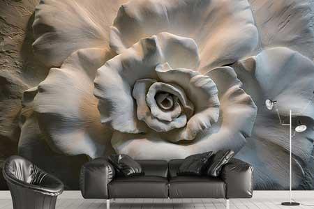 طرح کاغذ دیواری گل رز تک سه بعدی 021