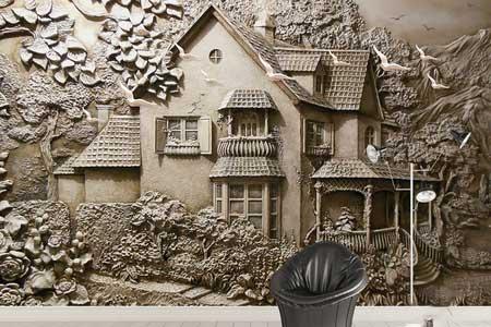 طرح کاغذ دیواری خانه و منظره سه بعدی 022