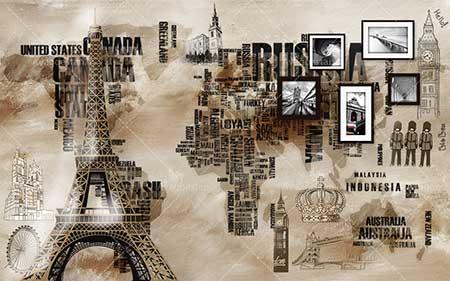 طرح  کاغذ دیواری پاریس و قاب عکس wcl-003