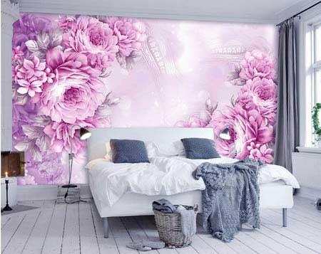 طرح کاغذ دیواری  گلهای رز بنفش 001f