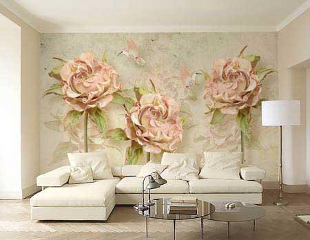 طرح کاغذ دیواری  گلهای رزصورتی 002f