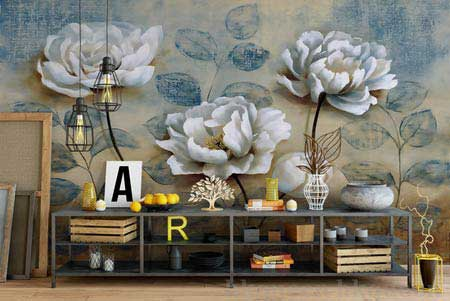 طرح کاغذ دیواری  گلهای سفید با زمینه آبی 007f