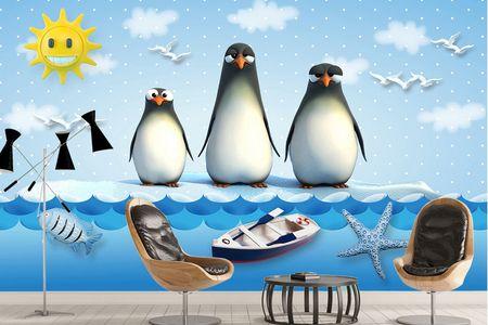 طرح لایه باز کاغذ دیواری اتاق کودک پنگوئنها wk-005