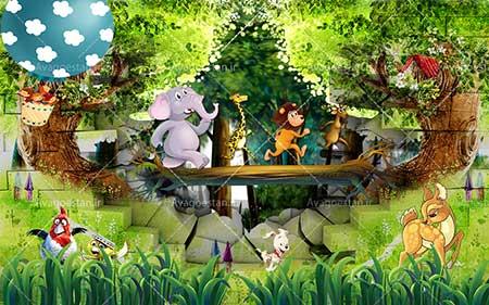 کاغذ دیواری اتاق کودک طرح  جنگل  wk-008