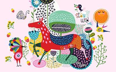 طرح پوسترکاغذ دیواراسب وحیوانات رنگی wk-061