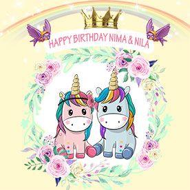 بنر تولد اسب شاخداریونیکورن دخترانه وپسرانه53