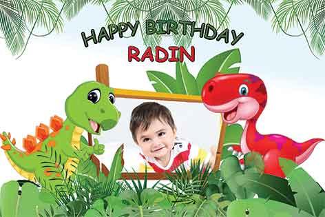 طرح بنر تولد کودک پسرانه دایناسور90