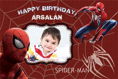 طرح بنر تولد پسرانه مرد عنکبوتی92