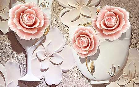 پوستر دیواری گلهای رزصورتی سه بعدی 009