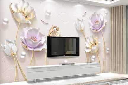 طرح کاغذ دیواری گل بنفش طلایی سه بعدی 013