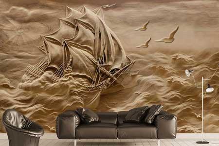 طرح کاغذ دیواری سه بعدی دریای طوفانی و کشتی 018