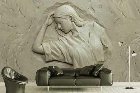 طرح کاغذ دیواری زن گچکاری سه بعدی 023