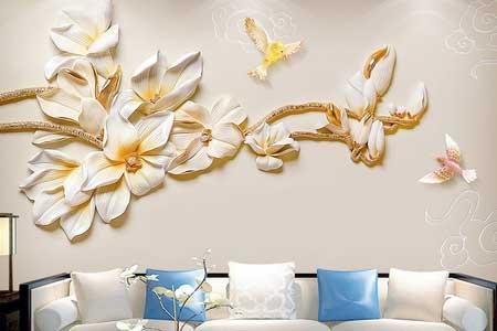 طرح کاغذ پوستر دیواری سه بعدی  گل سفیدطلایی وپرنده 025
