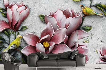 طرح کاغذ پوستر دیواری سه بعدی  گلهای سرخابی 026