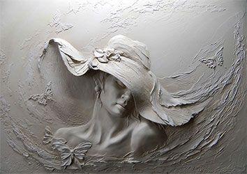 طرح کاغذ دیواری سه بعدی زن گچ بری 029