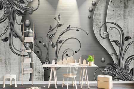 طرح کاغذ دیواری زمینه طوسی همراه با گل wcl-031