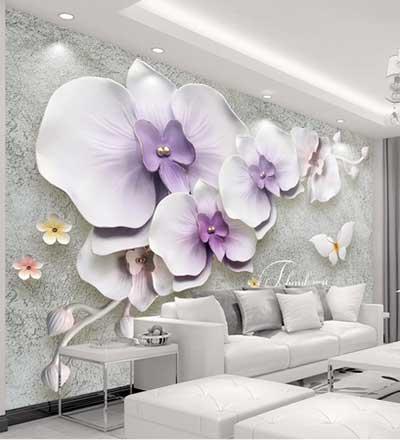 طرح پوستردیواری گلهای سفید بنفش وپروانه  117