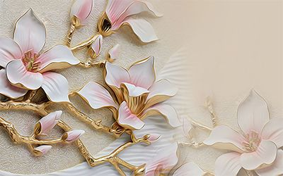 پوستر کاغذ دیواری گل صورتی طلایی  106