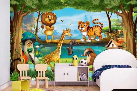 طرح لایه باز کاغذ دیواری اتاق کودک جنگل و حیوانات wk-010
