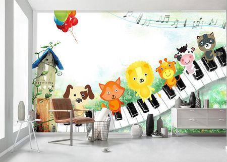 طرح لایه باز کاغذ دیواری اتاق کودک پیانو و حیوانات wk-002