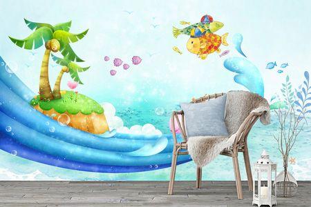 طرح لایه باز کاغذ دیواری اتاق کودک نهنگ و جزیره wk-004