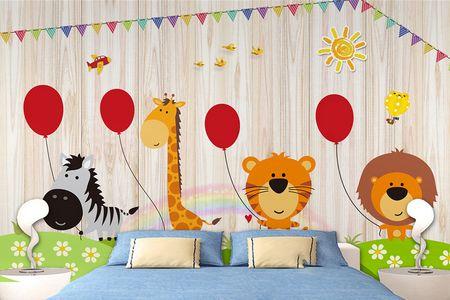 طرح لایه باز کاغذ دیواری اتاق کودک جشن حیوانات  wk-006