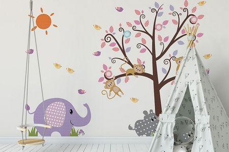 طرح لایه باز کاغذ دیواری اتاق کودک فیل و حیوانات wk-009