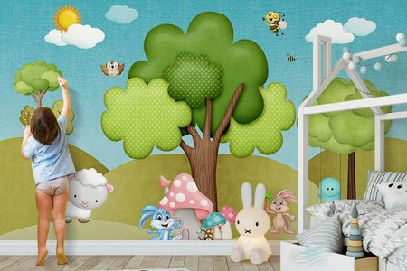 طرح لایه باز کاغذ دیواری جنگل و حیوانات wk-14