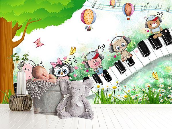 طرح کاغذ دیواری پیانو وحیوانات  wk-071