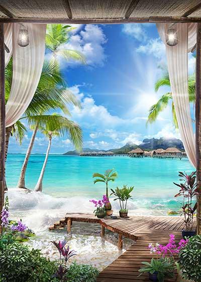 طرح پوستر ساحل دریا و گلها  wn-034